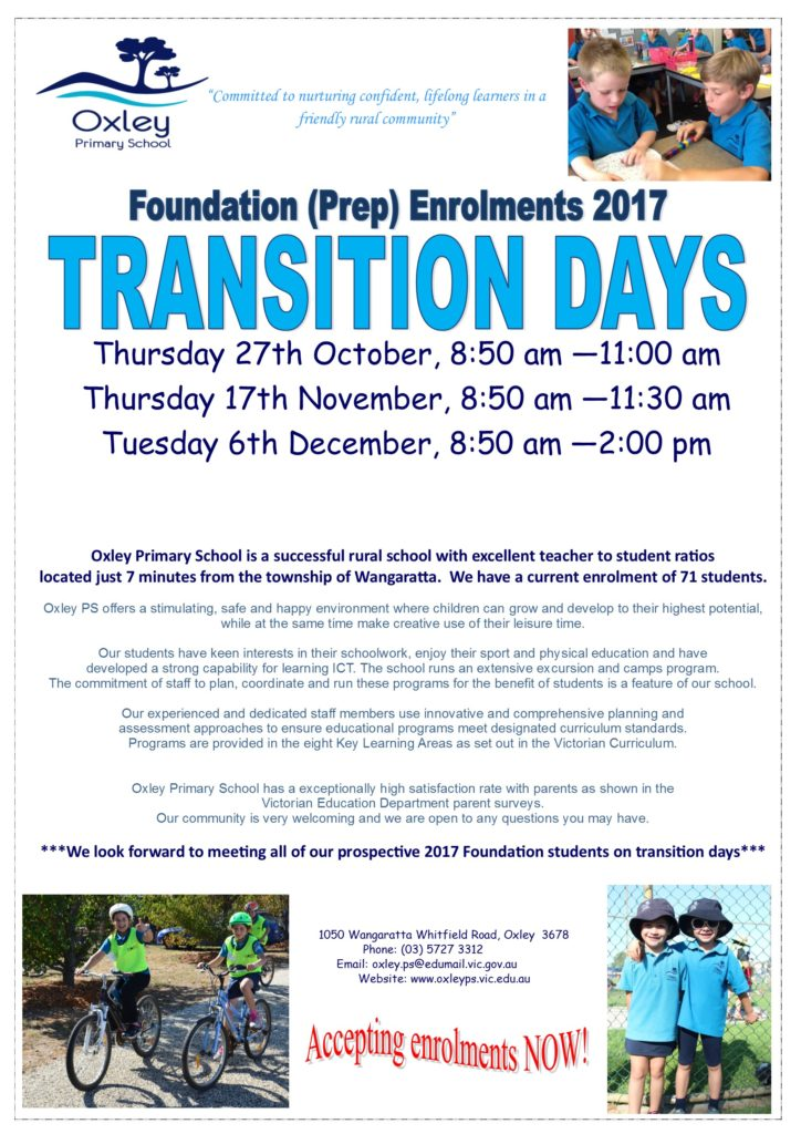 oxley-primary-school-transition-dates-2017-2